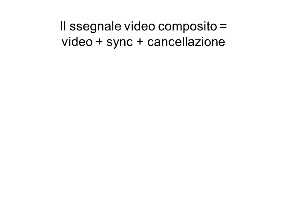 Il ssegnale video composito = video + sync + cancellazione