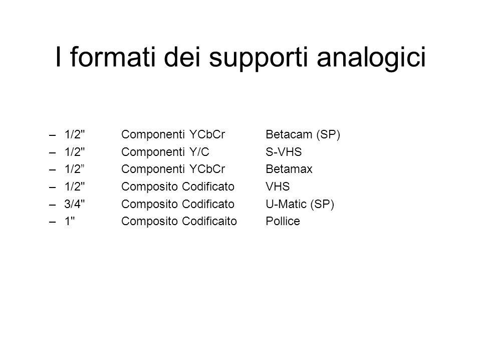 I formati dei supporti analogici