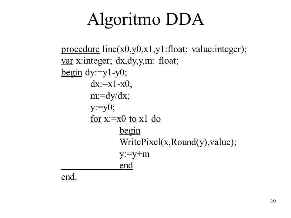 Algoritmo DDA procedure line(x0,y0,x1,y1:float; value:integer);