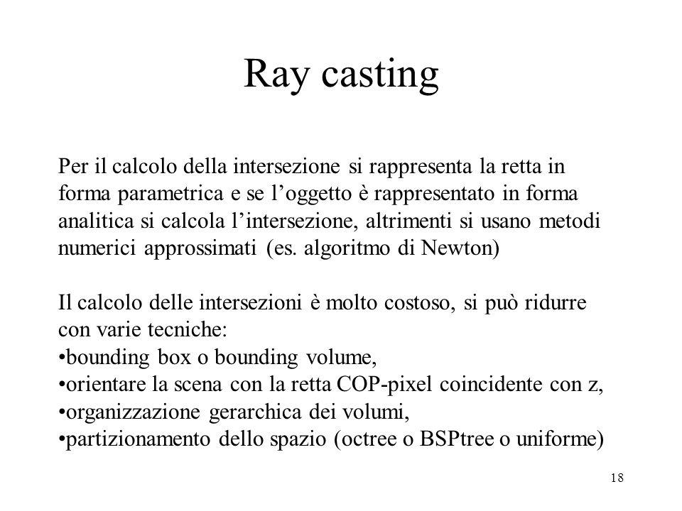 Ray casting Per il calcolo della intersezione si rappresenta la retta in. forma parametrica e se l'oggetto è rappresentato in forma.