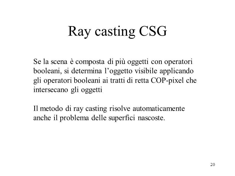 Ray casting CSG Se la scena è composta di più oggetti con operatori