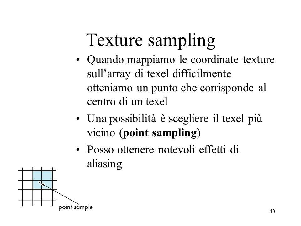 Texture sampling Quando mappiamo le coordinate texture sull'array di texel difficilmente otteniamo un punto che corrisponde al centro di un texel.
