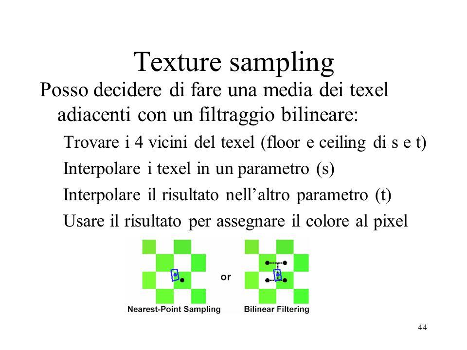 Texture sampling Posso decidere di fare una media dei texel adiacenti con un filtraggio bilineare: