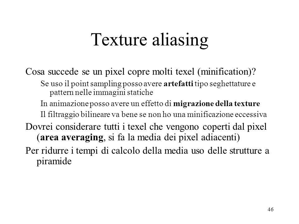 Texture aliasing Cosa succede se un pixel copre molti texel (minification)