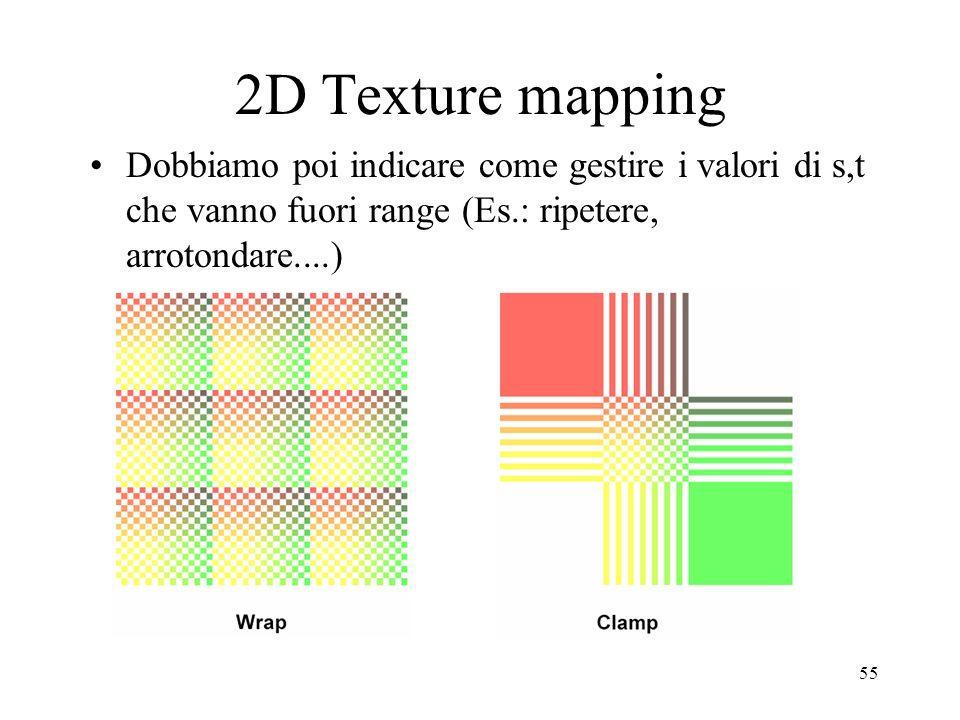 2D Texture mapping Dobbiamo poi indicare come gestire i valori di s,t che vanno fuori range (Es.: ripetere, arrotondare....)