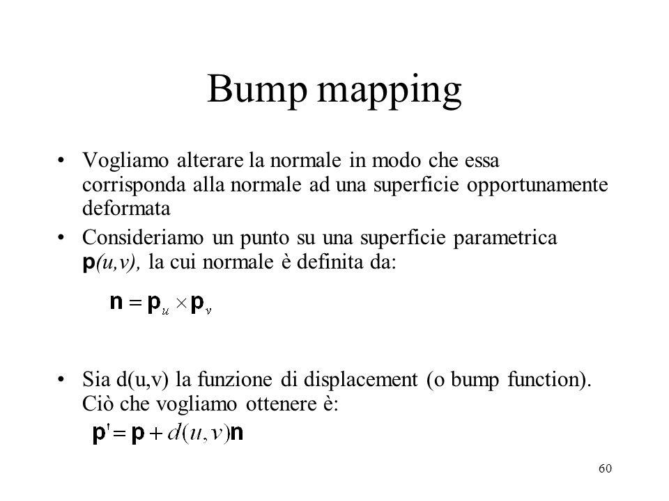 Bump mapping Vogliamo alterare la normale in modo che essa corrisponda alla normale ad una superficie opportunamente deformata.