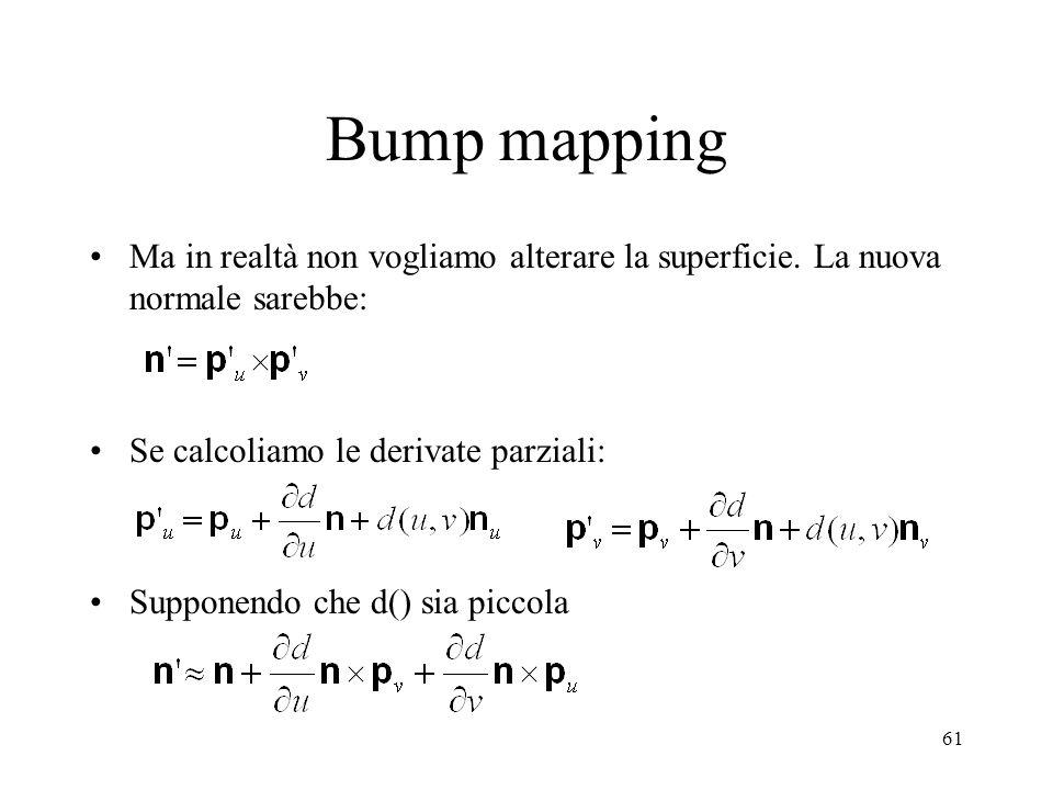 Bump mapping Ma in realtà non vogliamo alterare la superficie. La nuova normale sarebbe: Se calcoliamo le derivate parziali: