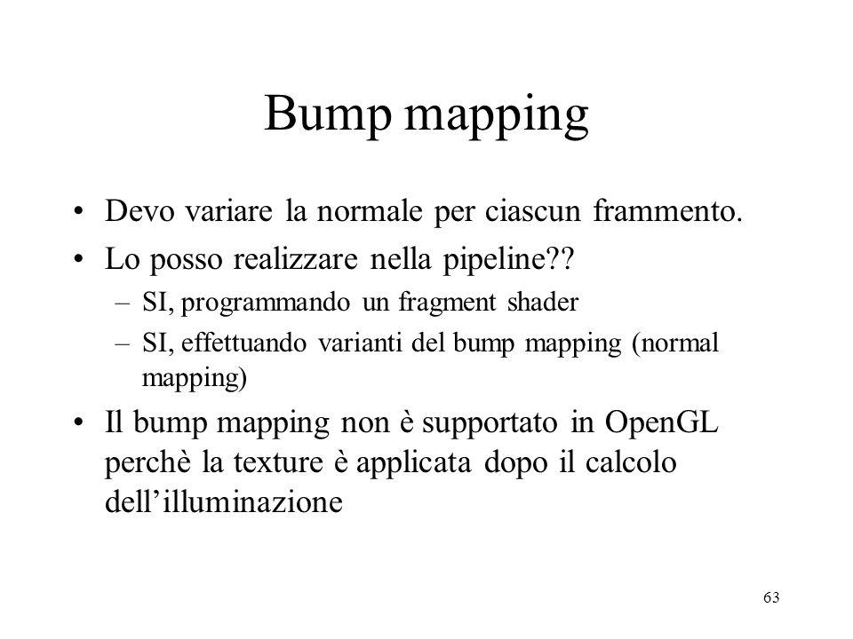 Bump mapping Devo variare la normale per ciascun frammento.