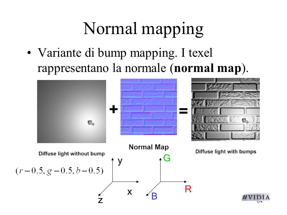 Normal mapping Variante di bump mapping. I texel rappresentano la normale (normal map).