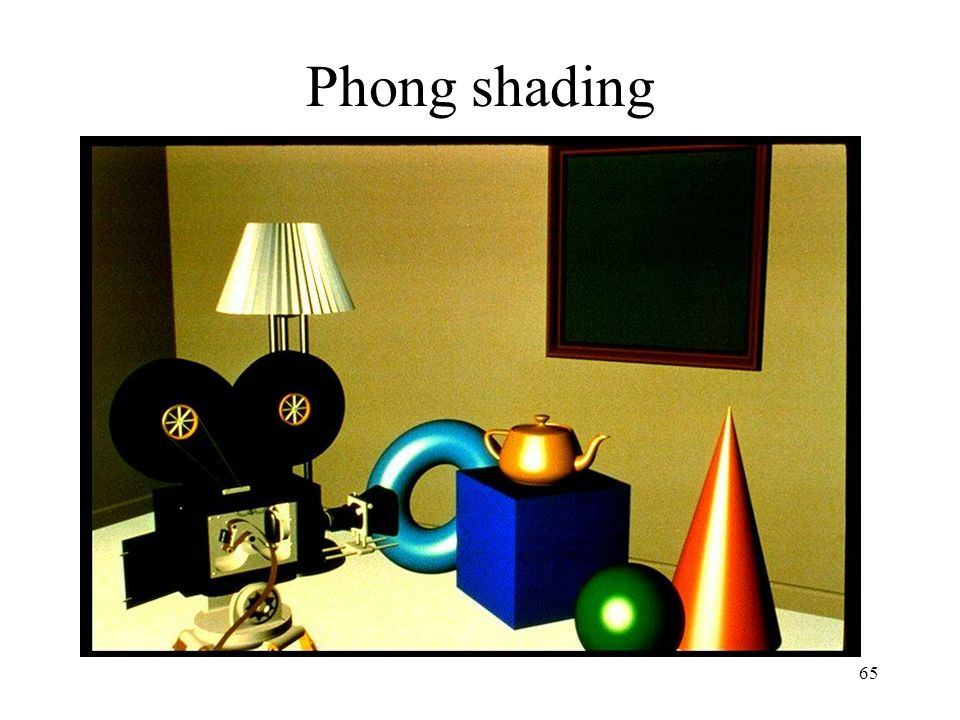Phong shading Interpolation of surface normals.