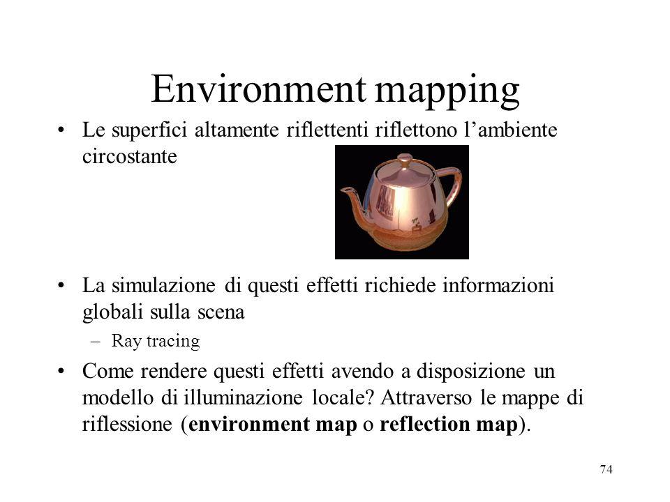 Environment mapping Le superfici altamente riflettenti riflettono l'ambiente circostante.