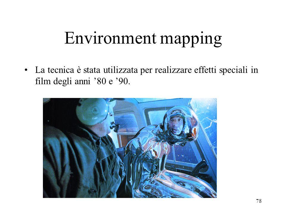 Environment mapping La tecnica è stata utilizzata per realizzare effetti speciali in film degli anni '80 e '90.