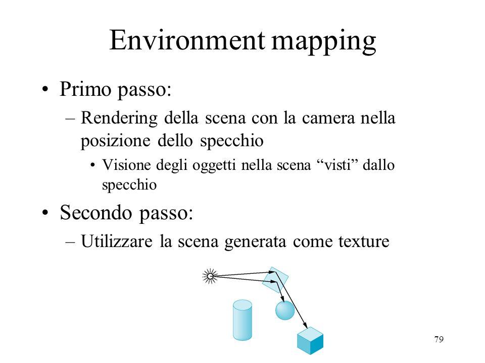 Environment mapping Primo passo: Secondo passo: