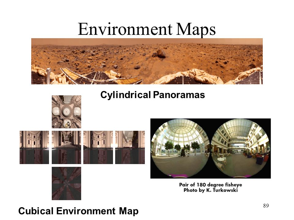 Environment Maps Cylindrical Panoramas Cubical Environment Map
