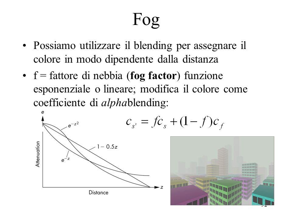 Fog Possiamo utilizzare il blending per assegnare il colore in modo dipendente dalla distanza.