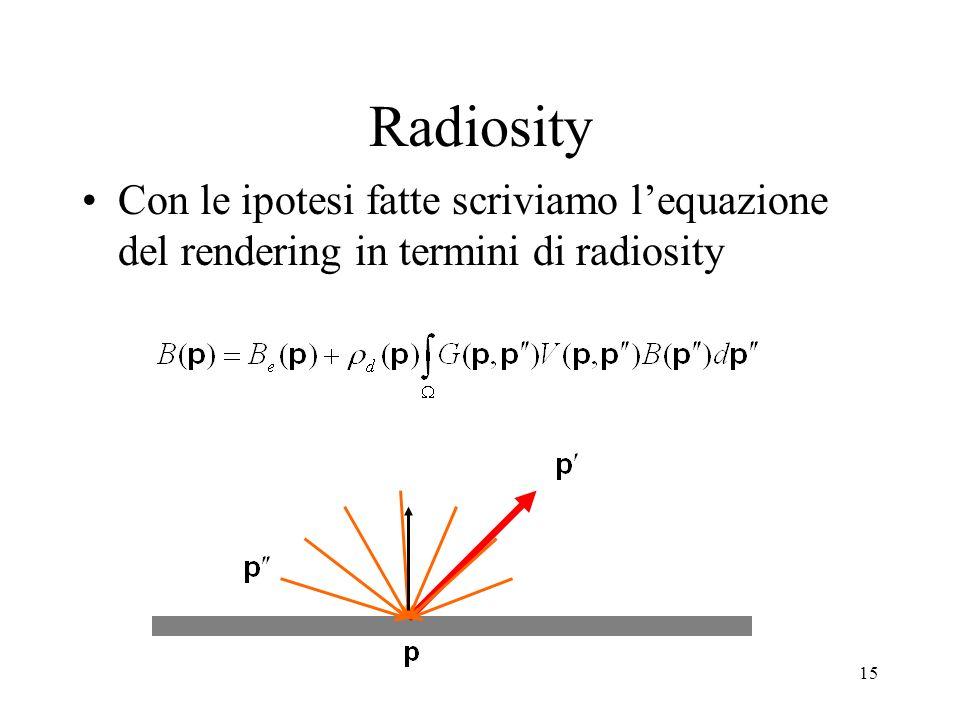 Radiosity Con le ipotesi fatte scriviamo l'equazione del rendering in termini di radiosity