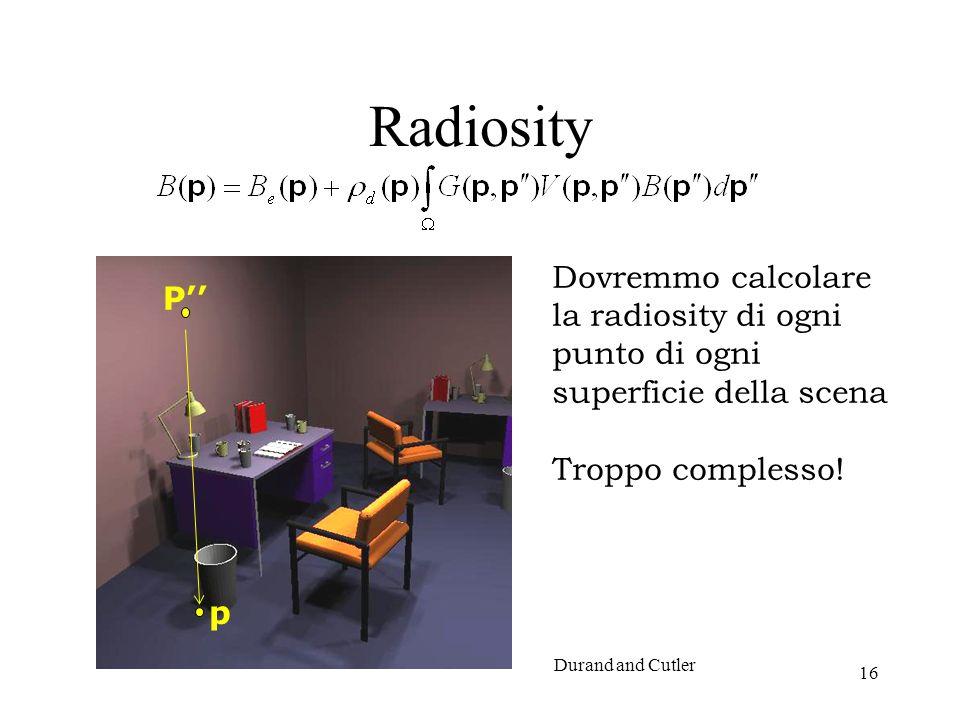 Radiosity Dovremmo calcolare la radiosity di ogni punto di ogni superficie della scena. Troppo complesso!