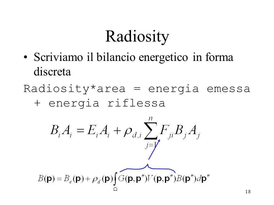 Radiosity Scriviamo il bilancio energetico in forma discreta