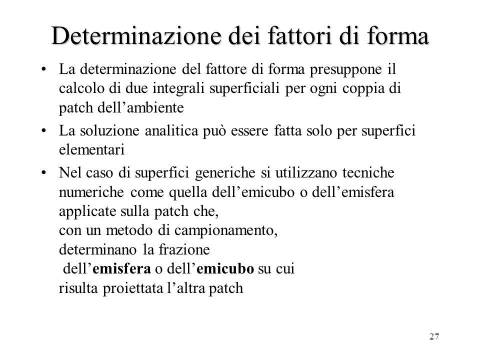Determinazione dei fattori di forma