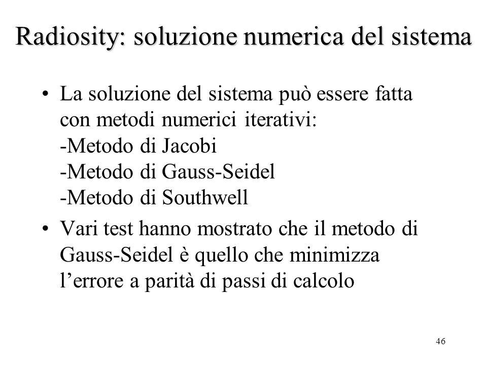 Radiosity: soluzione numerica del sistema