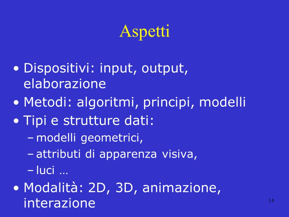 Aspetti Dispositivi: input, output, elaborazione