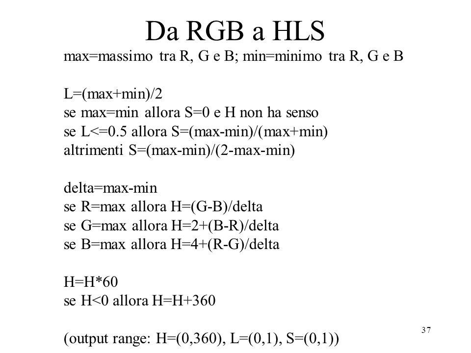 Da RGB a HLS max=massimo tra R, G e B; min=minimo tra R, G e B