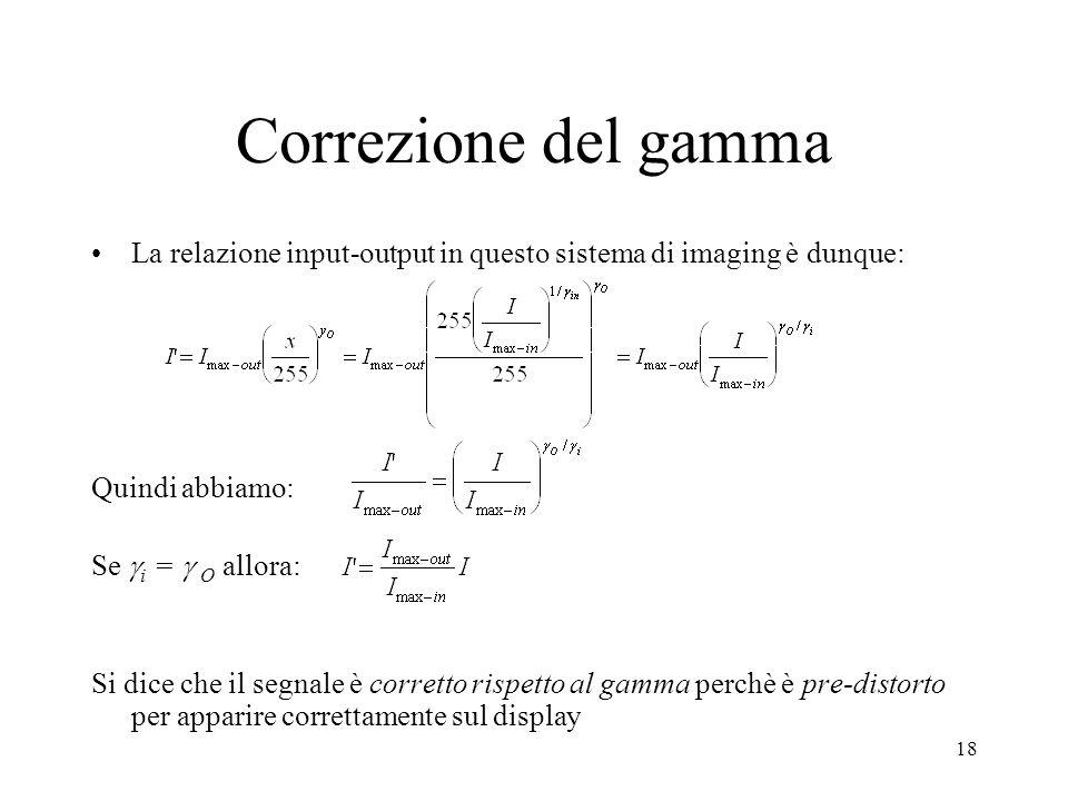 Correzione del gamma La relazione input-output in questo sistema di imaging è dunque: Quindi abbiamo:
