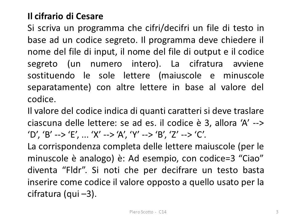 Il cifrario di Cesare