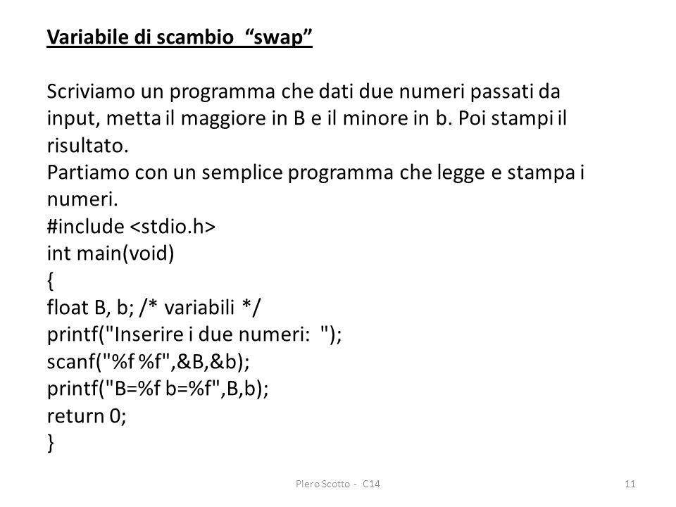 Variabile di scambio swap