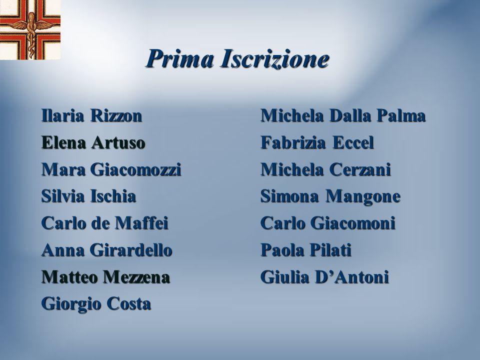 Prima Iscrizione Ilaria Rizzon Elena Artuso Mara Giacomozzi