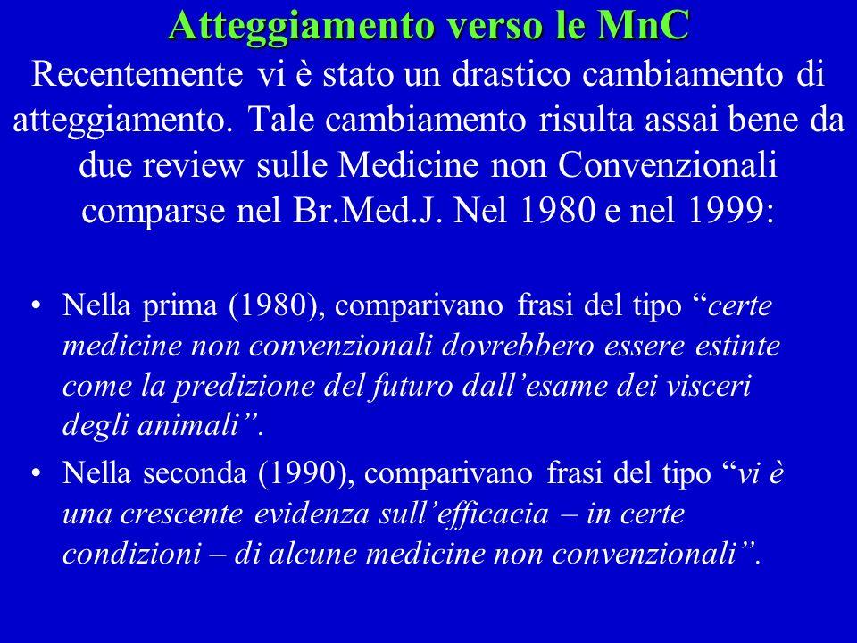Atteggiamento verso le MnC Recentemente vi è stato un drastico cambiamento di atteggiamento. Tale cambiamento risulta assai bene da due review sulle Medicine non Convenzionali comparse nel Br.Med.J. Nel 1980 e nel 1999: