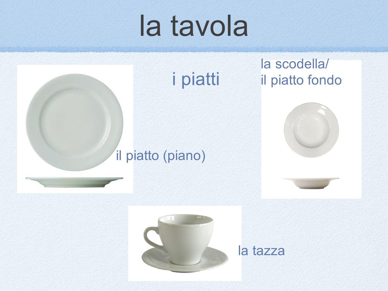 la tavola i piatti la scodella/ il piatto fondo il piatto (piano)