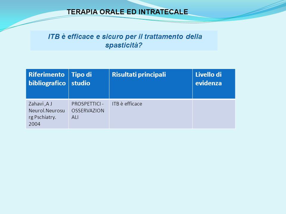 TERAPIA ORALE ED INTRATECALE
