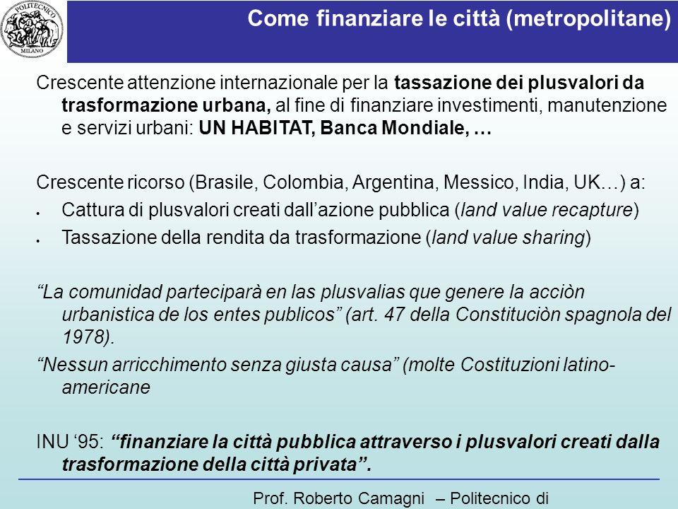 Come finanziare le città (metropolitane)