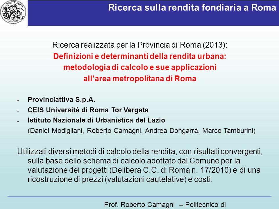 Ricerca sulla rendita fondiaria a Roma