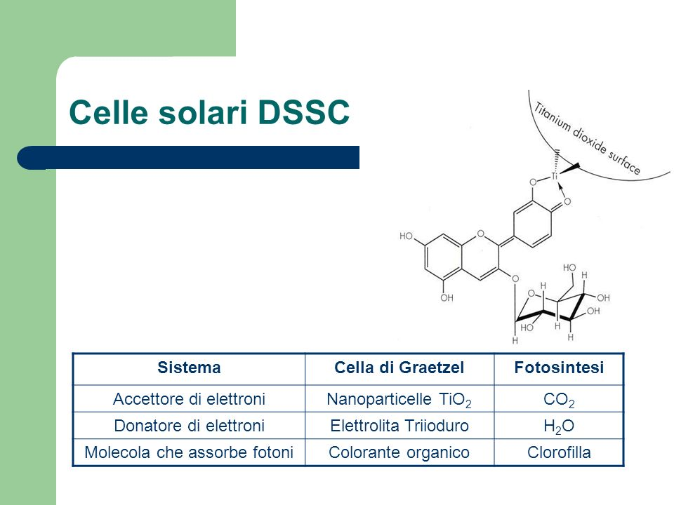 Celle solari DSSC Sistema Cella di Graetzel Fotosintesi