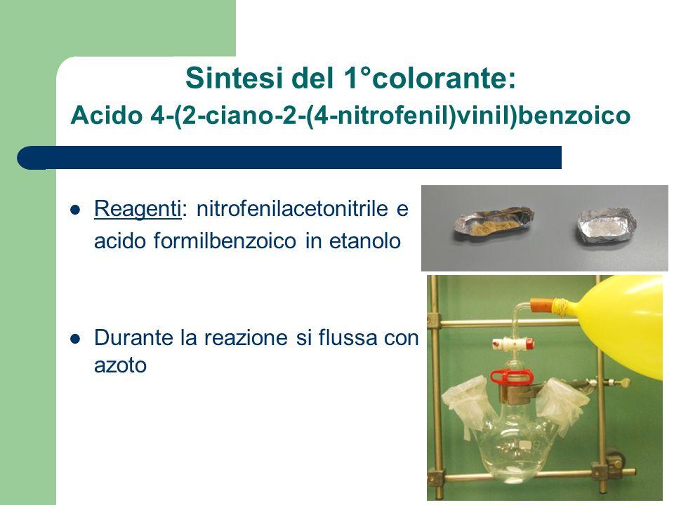 Sintesi del 1°colorante: Acido 4-(2-ciano-2-(4-nitrofenil)vinil)benzoico
