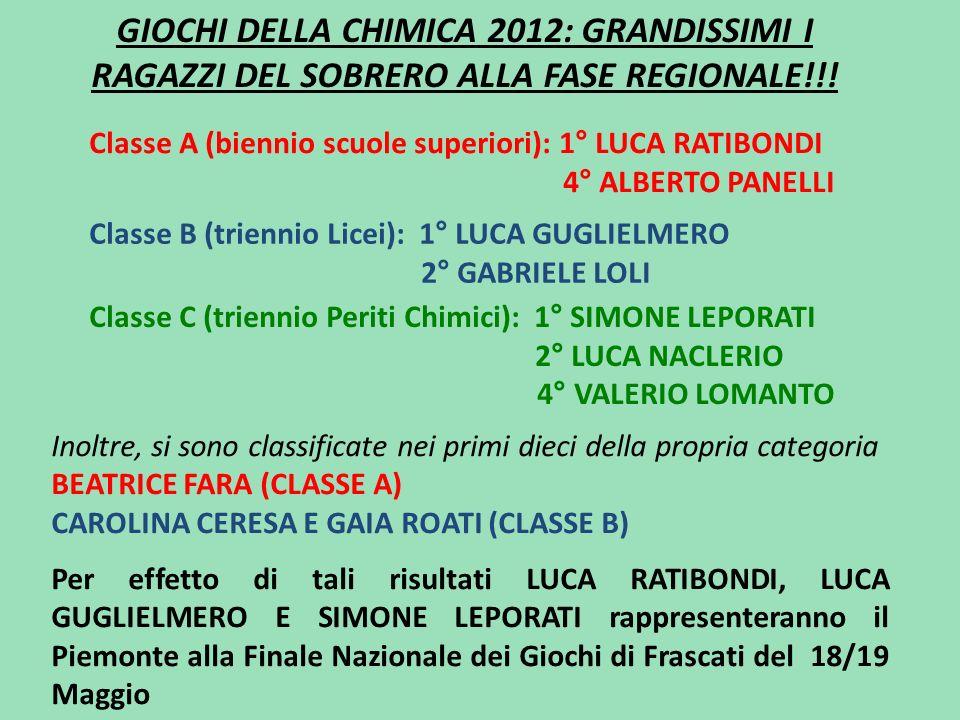GIOCHI DELLA CHIMICA 2012: GRANDISSIMI I RAGAZZI DEL SOBRERO ALLA FASE REGIONALE!!!