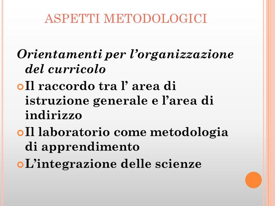 aspetti metodologici Orientamenti per l'organizzazione del curricolo