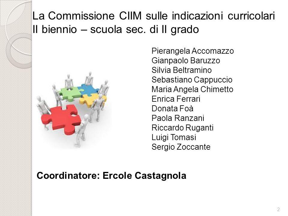 La Commissione CIIM sulle indicazioni curricolari II biennio – scuola sec. di II grado