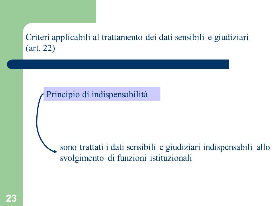 Criteri applicabili al trattamento dei dati sensibili e giudiziari (art. 22)