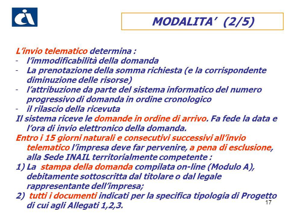 MODALITA' (2/5) L'invio telematico determina :