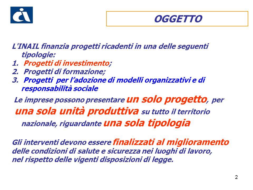 OGGETTO L INAIL finanzia progetti ricadenti in una delle seguenti tipologie: Progetti di investimento;