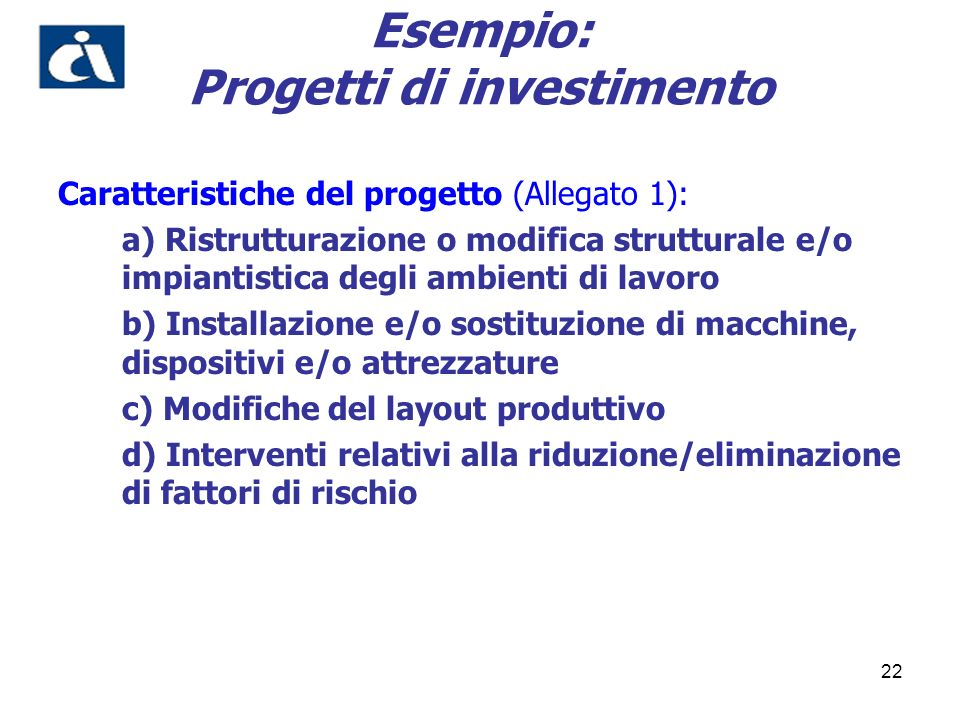 Esempio: Progetti di investimento