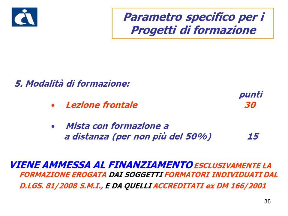 Parametro specifico per i Progetti di formazione