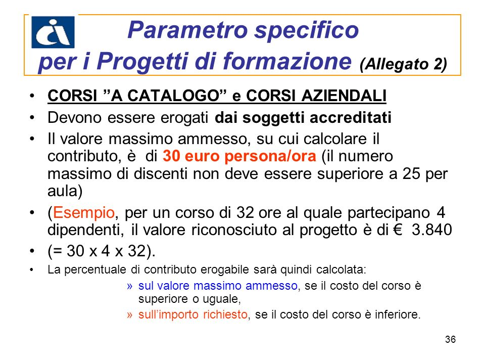 Parametro specifico per i Progetti di formazione (Allegato 2)