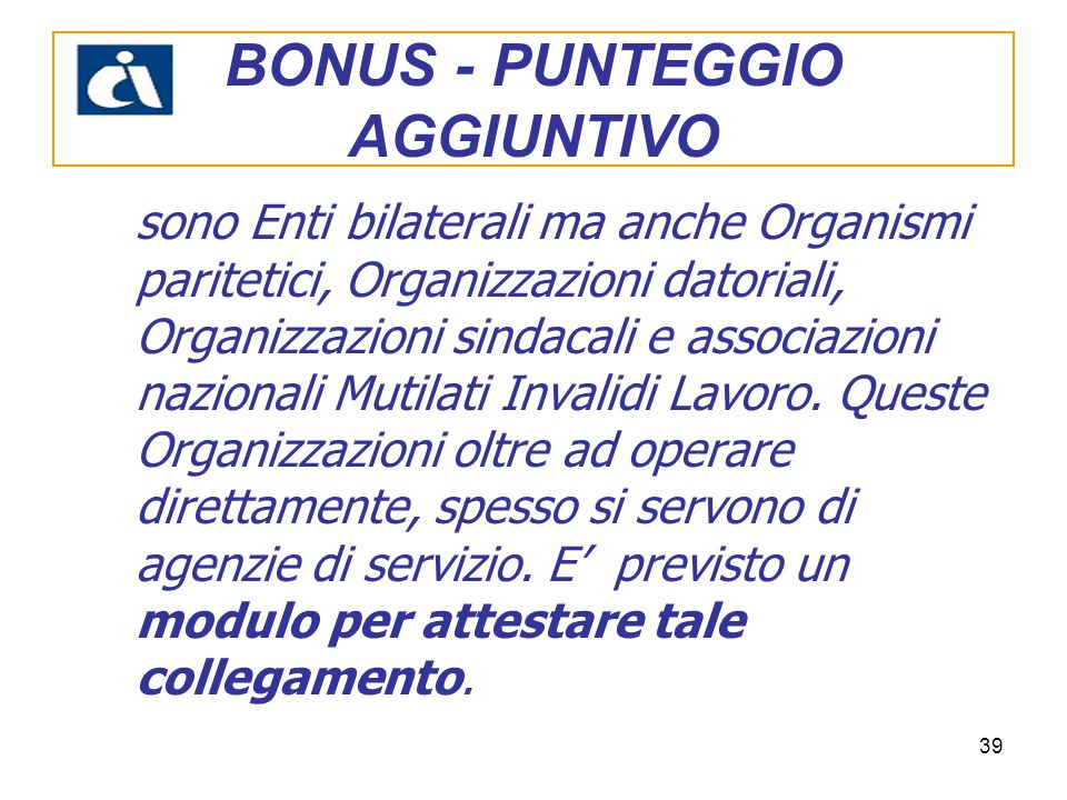 BONUS - PUNTEGGIO AGGIUNTIVO
