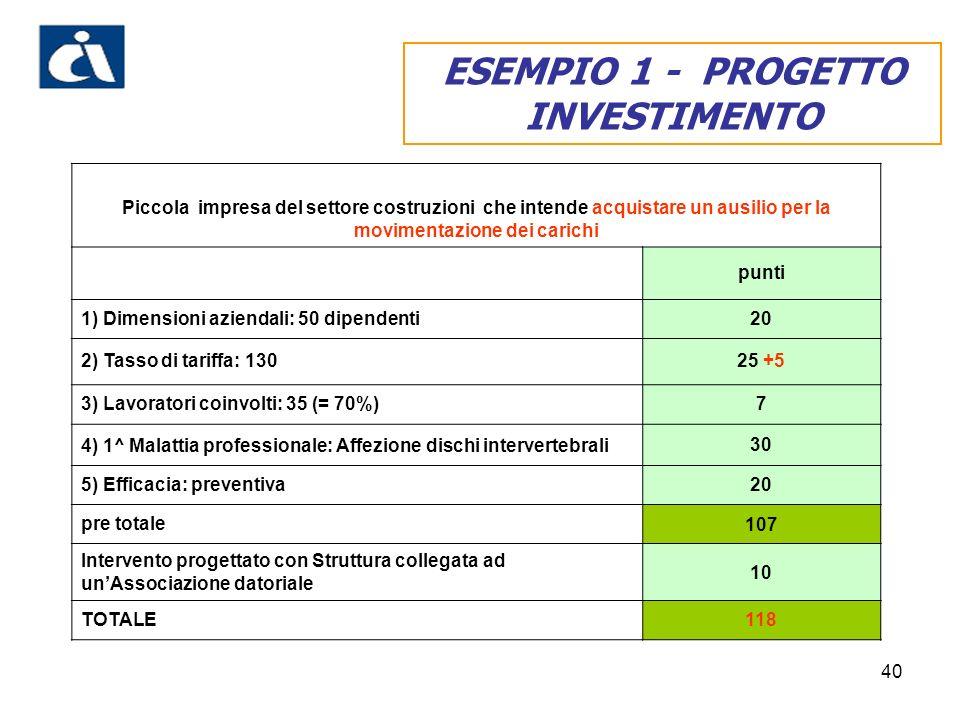 ESEMPIO 1 - PROGETTO INVESTIMENTO
