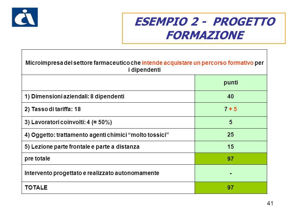 ESEMPIO 2 - PROGETTO FORMAZIONE