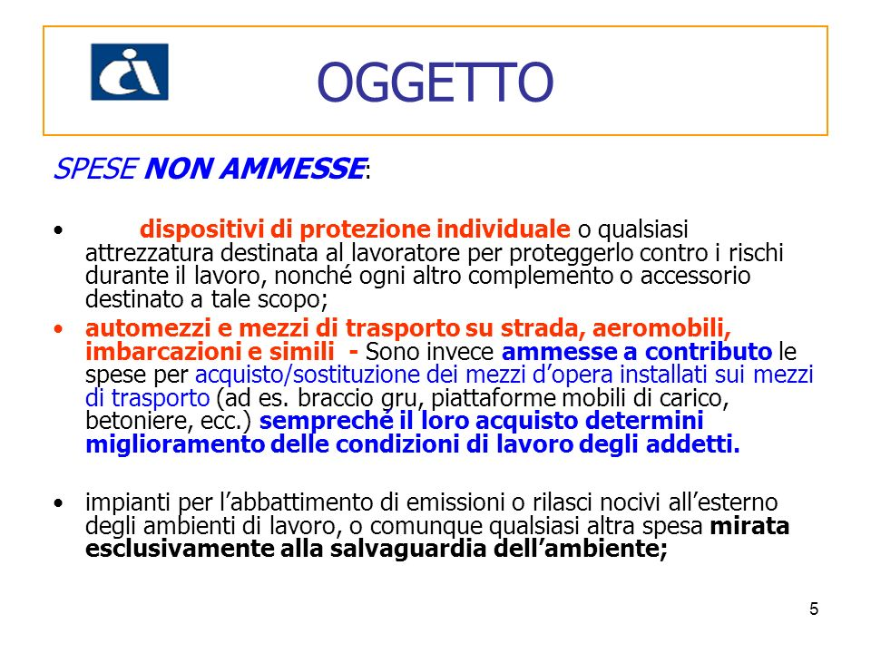 OGGETTO SPESE NON AMMESSE: